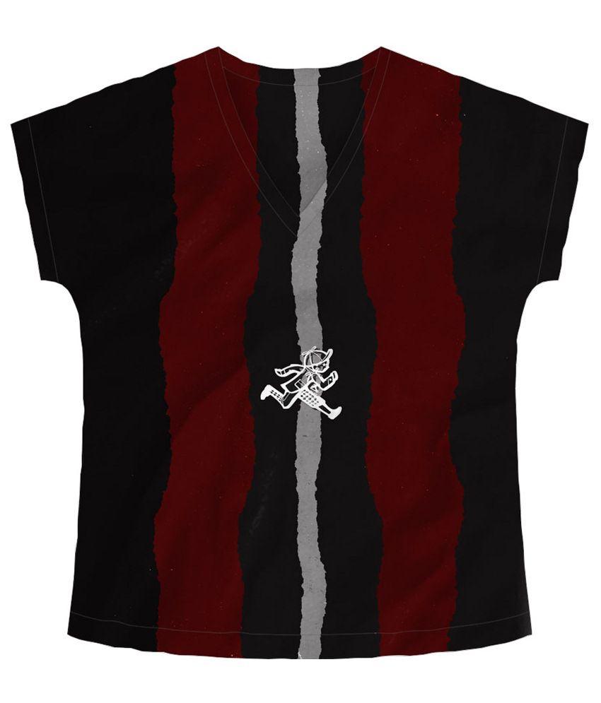 Freecultr Express Run Black & Maroon Graphic T Shirt