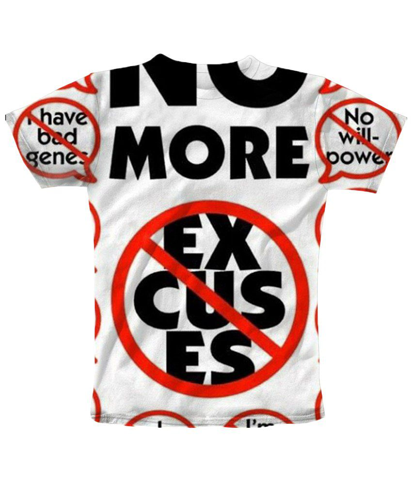 Freecultr Express White & Black No Excuse Round Neck Printed T Shirt