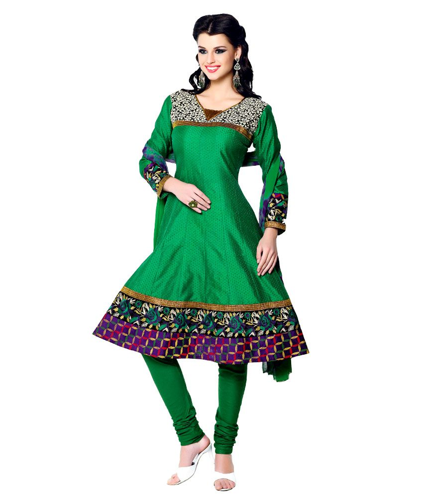 LEPCY Green Cotton Unstitched Dress Material