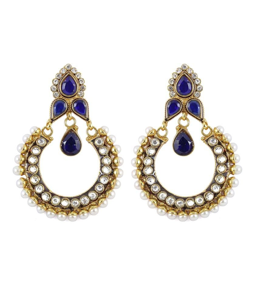 how much are earrings much more style blue colour gold plated polki 7479