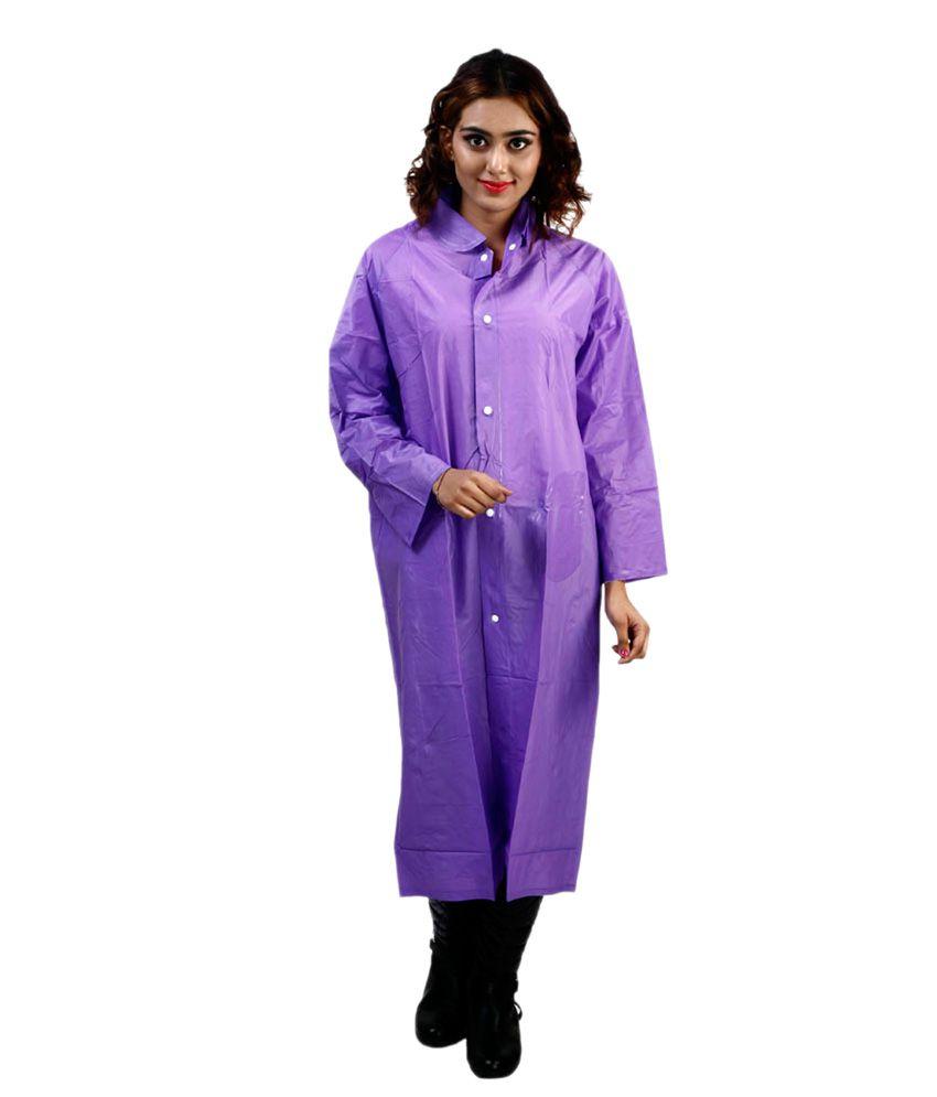 Rainfun Purple Waterproof Long Raincoat