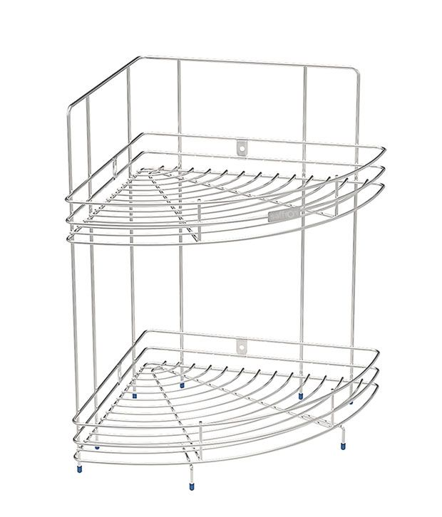 Saffron S.S Corner Double Corner Shelf