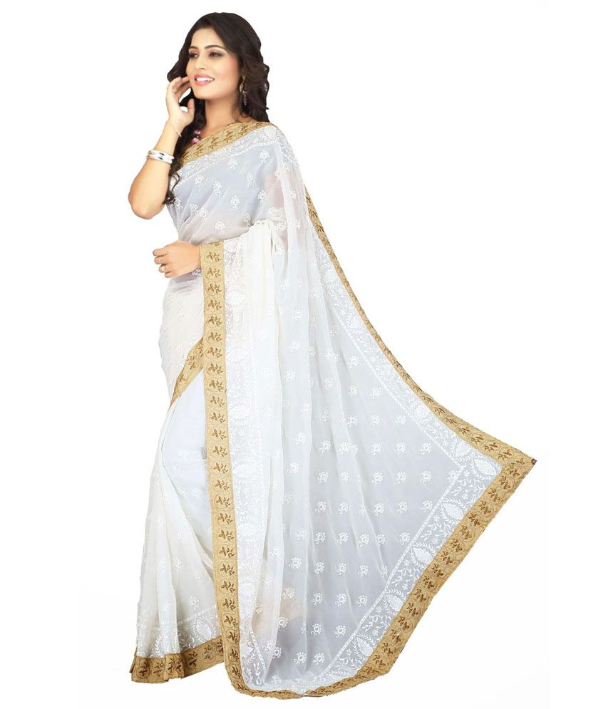 Fashion Sarees White Faux Georgette Saree - Buy Fashion ...