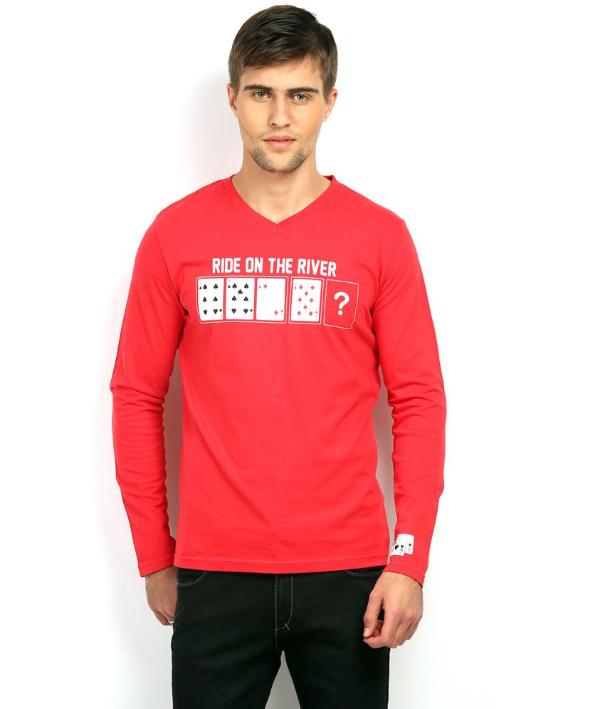 In The Closet Red Cotton Full Sleeves Round Neck T-shirt