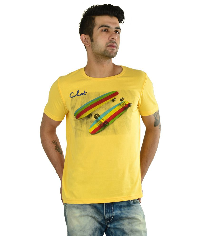 In The Closet Yellow Cotton Half Sleeves Round Neck T-shirt