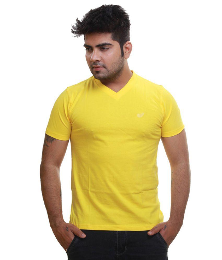 Lime Lite Yellow Cotton Half Sleeves V-Neck T Shirt
