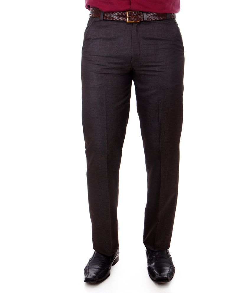 Addiction Medium Brown Poly Viscose Men Formal Trouser
