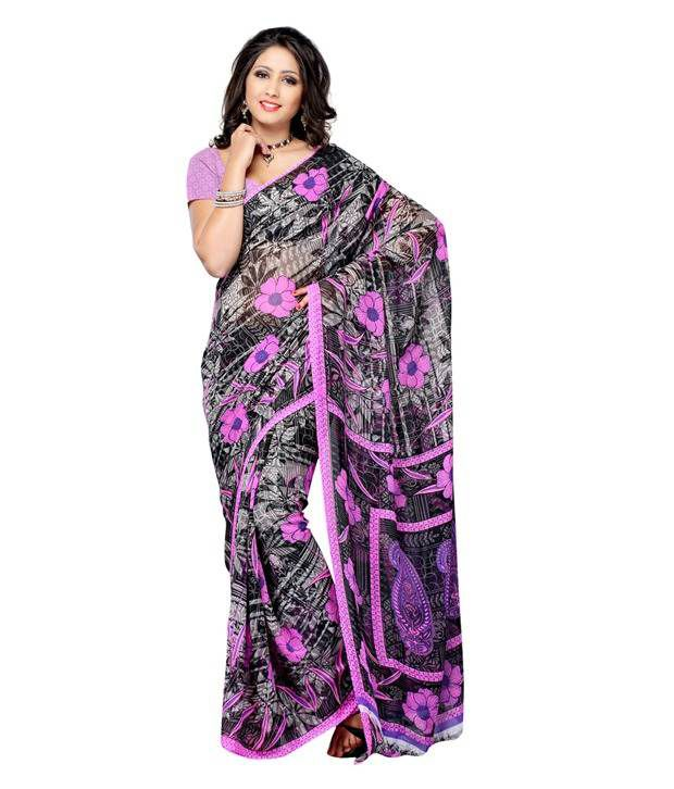 Ambaji Blue Faux Georgette Printed Saree