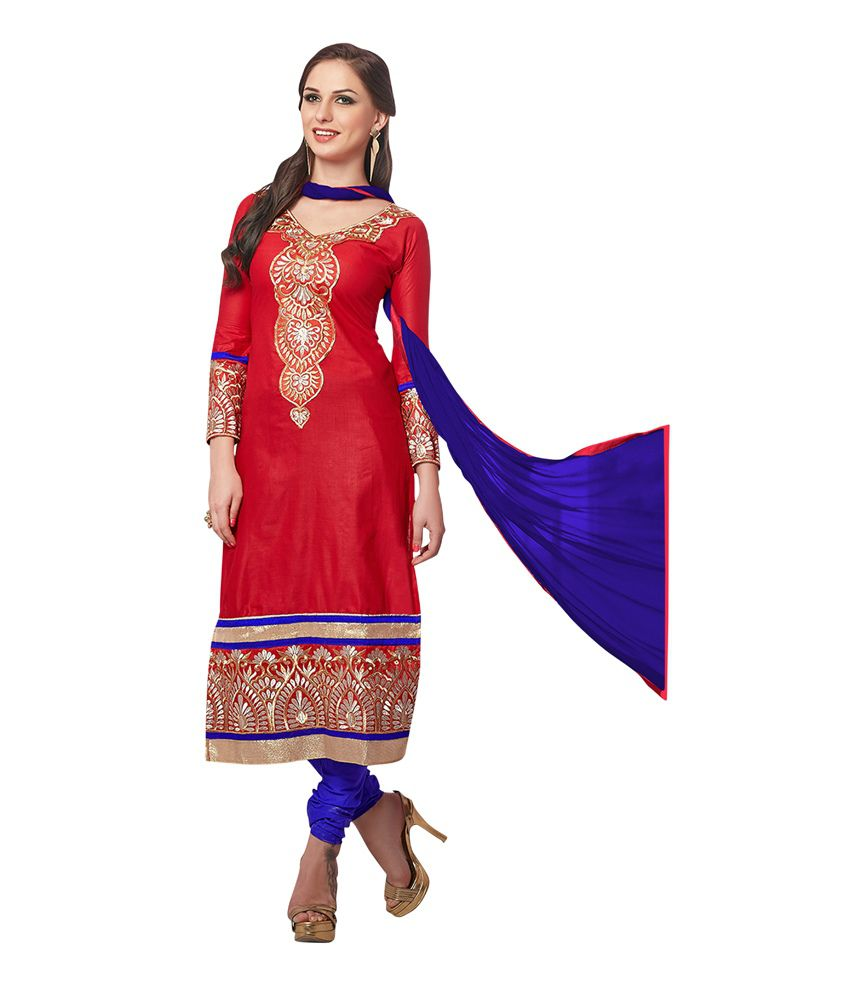 Haven Fashion Red Cotton A-line Casual Wear Suit Dress Material With Embroidered Work And Chiffon Dupatta