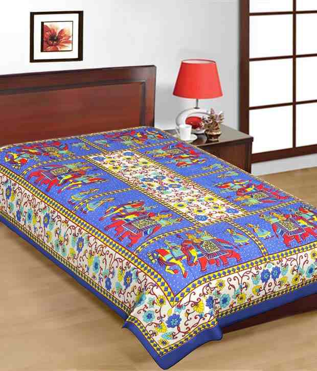 Lovely Kismat Collection 100% Cotton New Rajasthani U0026 Jaipuri Printed Single Bed  Sheet ...