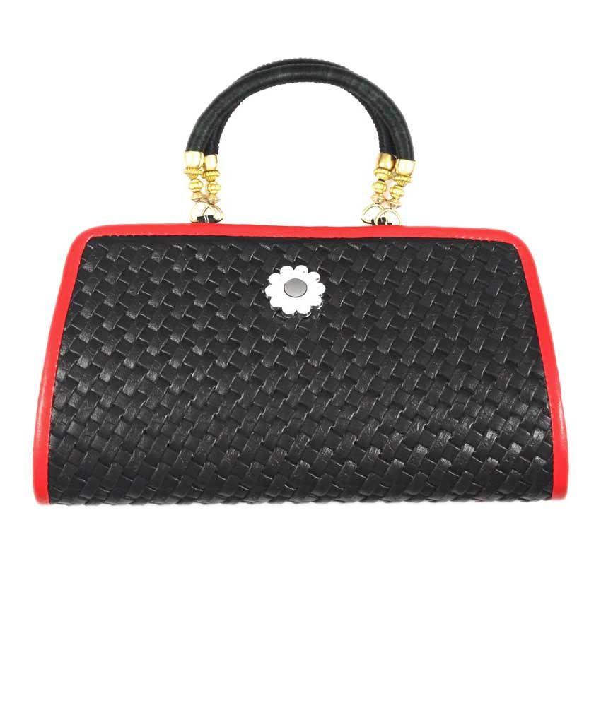 Ledera Black P.U. Material Magnit Button Hobo Bag