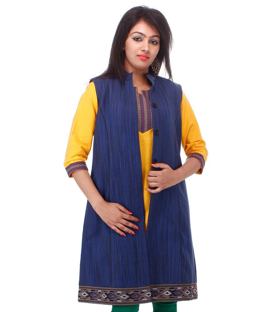 fe0d69f35 Buy Tribes India Woollen Blue Ethnic Jacket Online at Best Prices in India  - Snapdeal