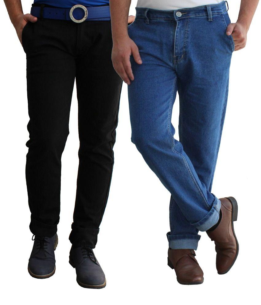 Alan Woods Blue Cotton Jeans Set of 2