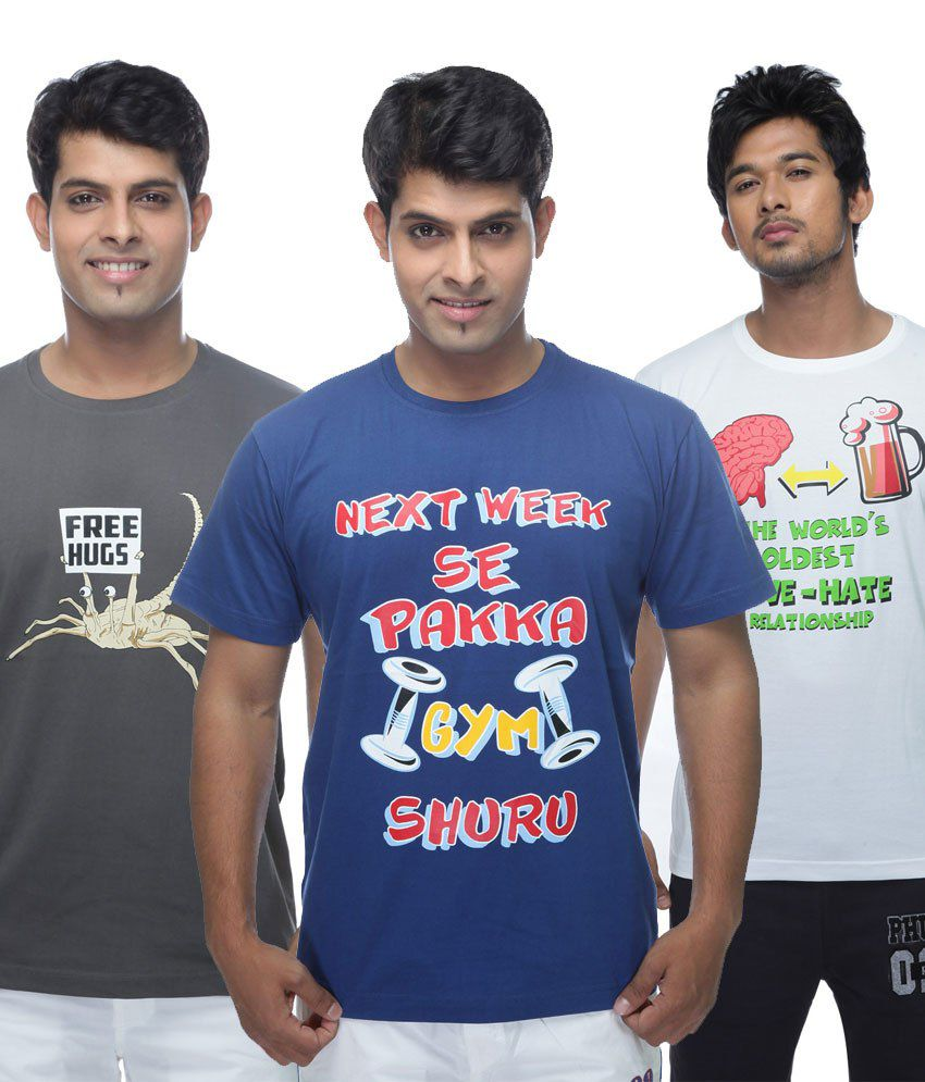 Clickroo Multicolour Cotton Printed Round Neck T-Shirt - Set of 3