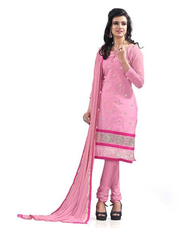 Khoobee Pink Chanderi A-line Unstitched Dress Material