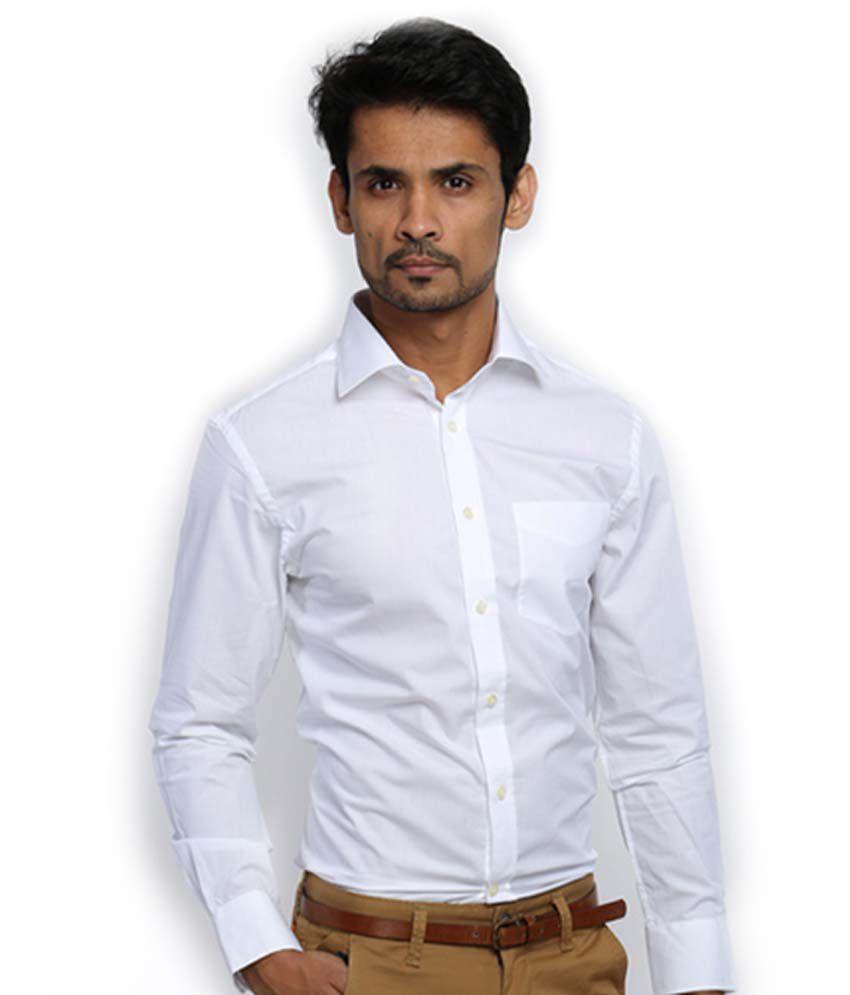 b32536bba23f Zodiac White 100 Percent Cotton Full Sleeves Formal Shirt For Men - Buy Zodiac  White 100 Percent Cotton Full Sleeves Formal Shirt For Men Online at Best  ...