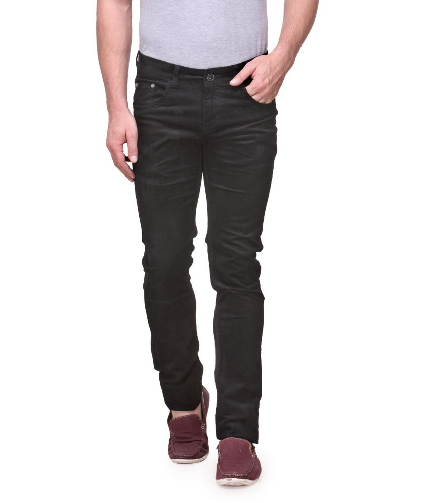 Fever Black Cotton Lycra Chinos
