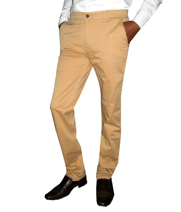 Maple Khaki Cotton Regular Fit Casual Chinos