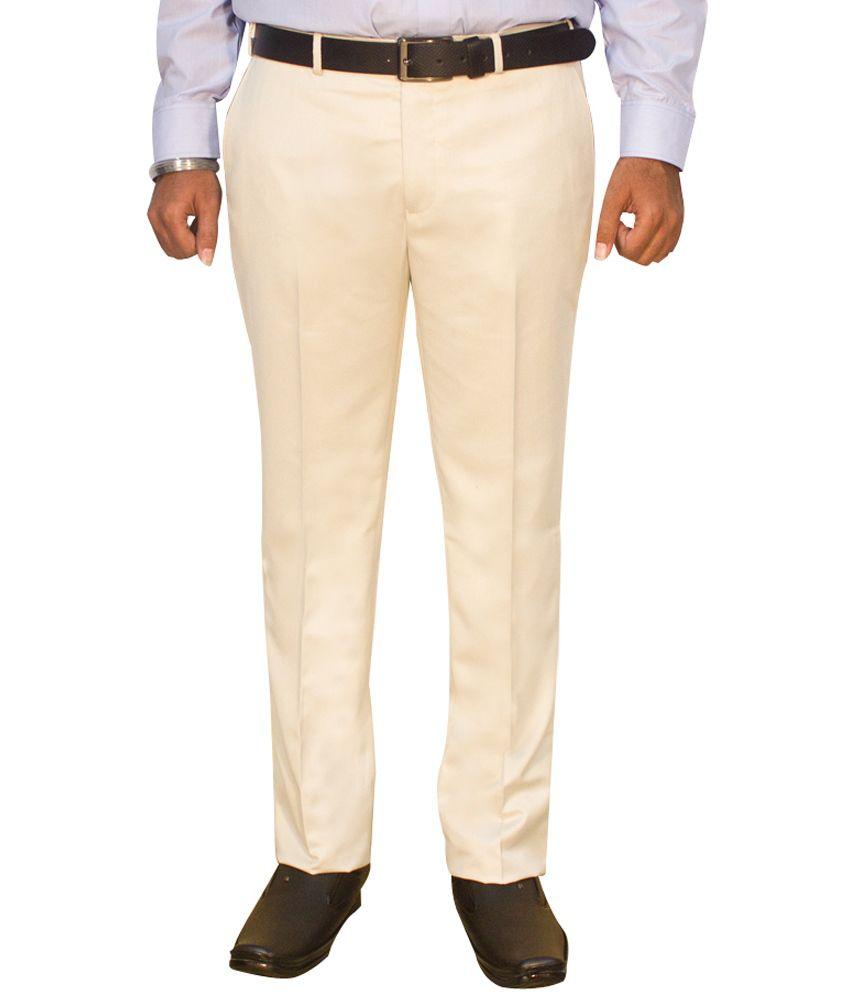 Kinger Beige Regular Fit Formal Trouser