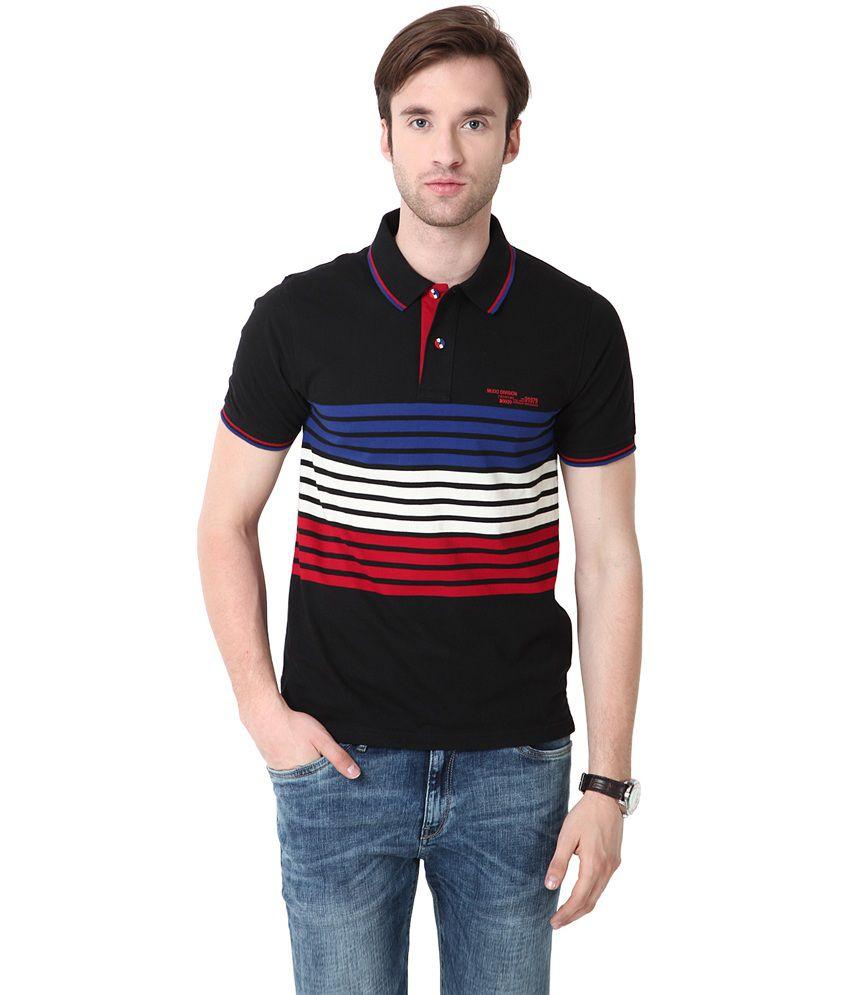 Mudo Black Cotton Henley Neck Half Sleeves T Shirt