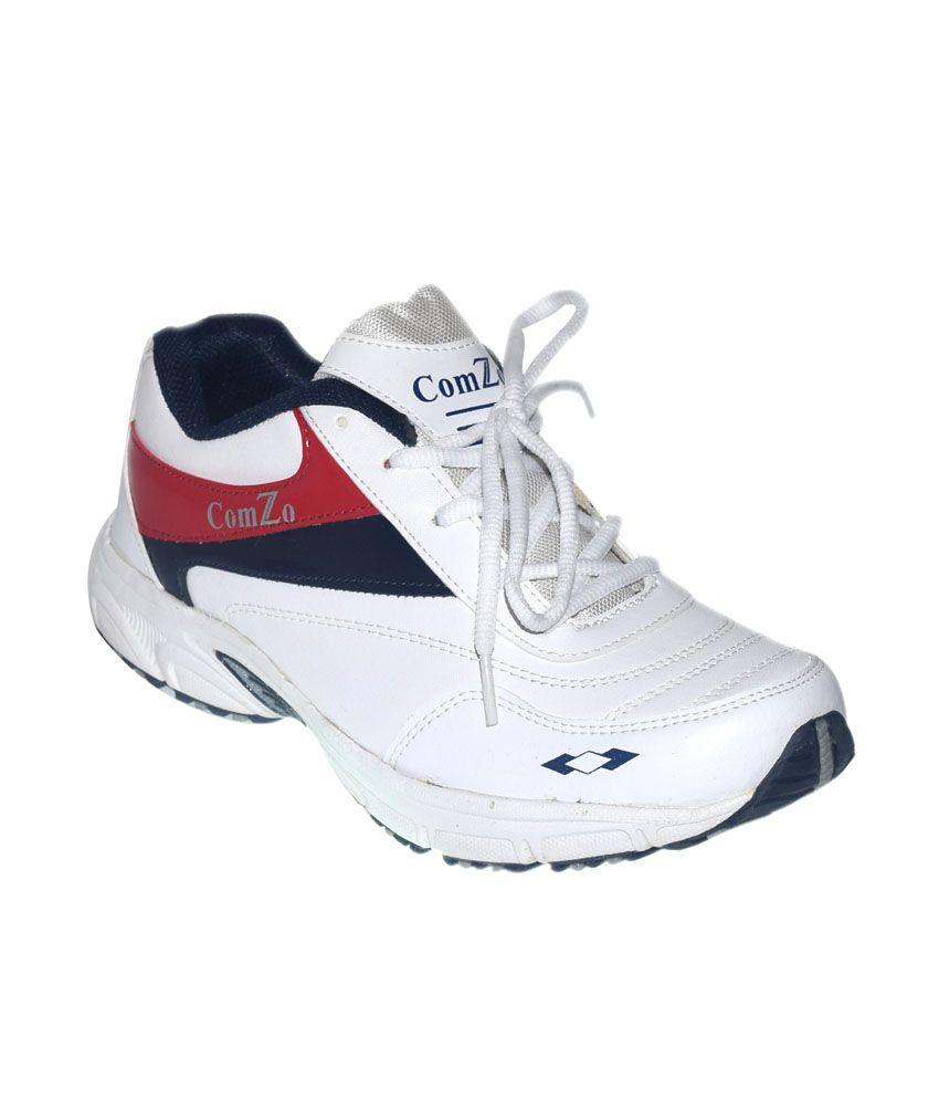 Comzo Swift White Running Shoes