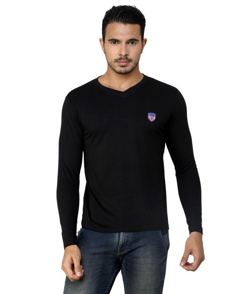 Free Spirit Black Cotton V-neck T-shirt