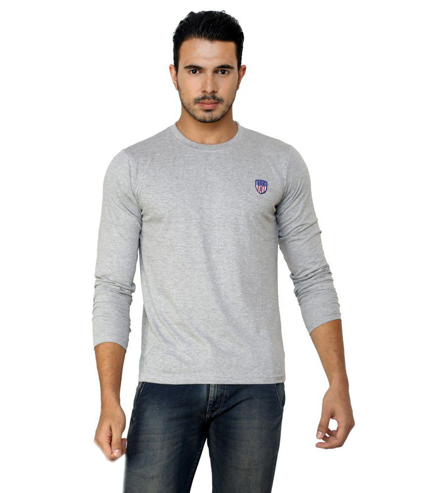 Free Spirit Gray Cotton Round Neck T-shirt