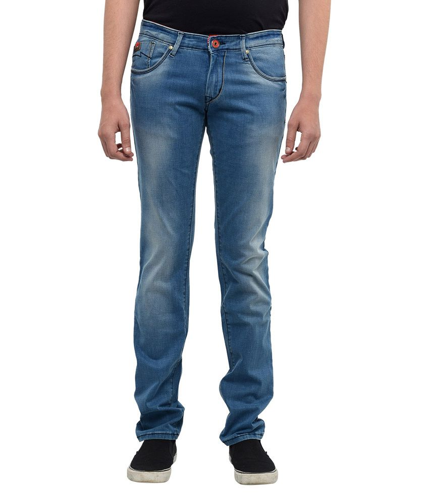 Hard Currency Blue Cotton Blend Basics Slim Fit Jeans