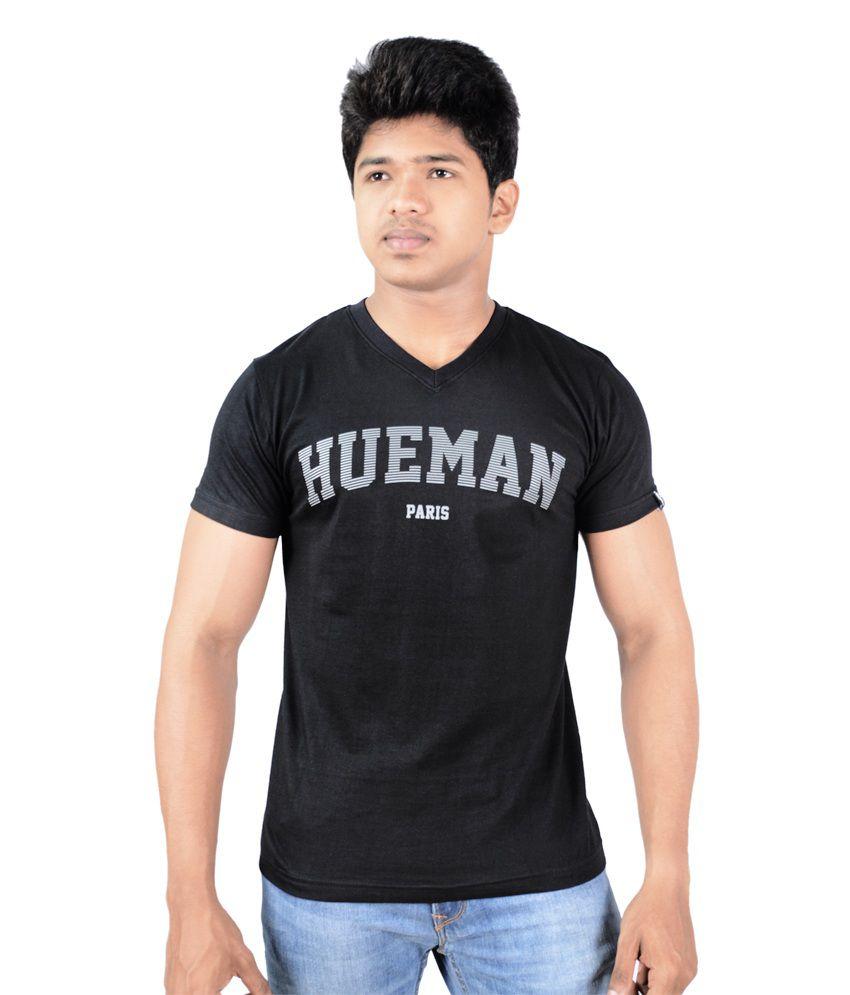 Hueman Black Cotton V-Neck Printed T-Shirt