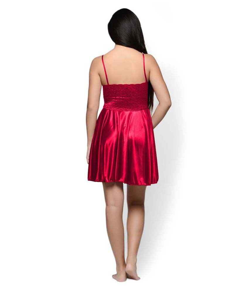 67fa480b025 Buy Klamotten Red Satin Baby Doll Dresses Online at Best Prices in India -  Snapdeal