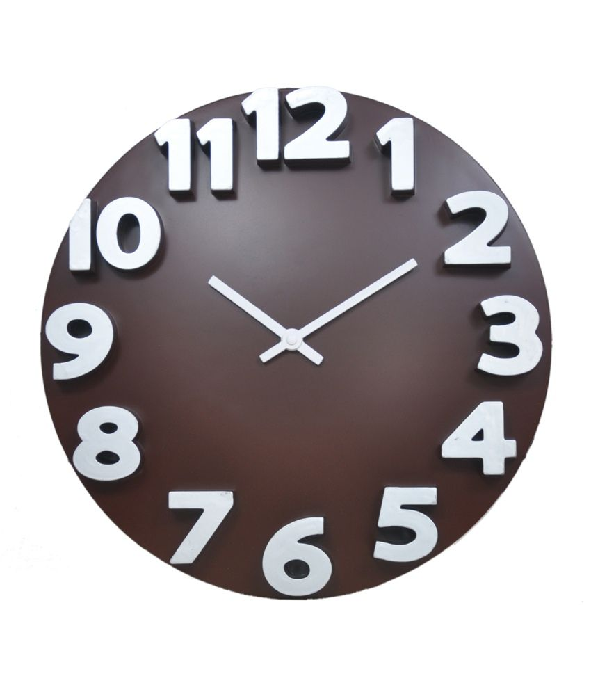 Klok 3D Analog Wall Clock Brown Wall