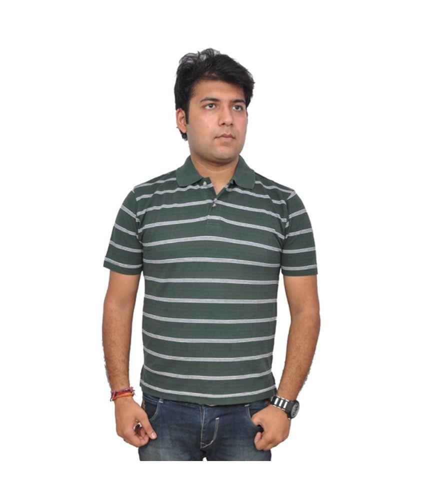 London Green Stripers Cotton T Shirts