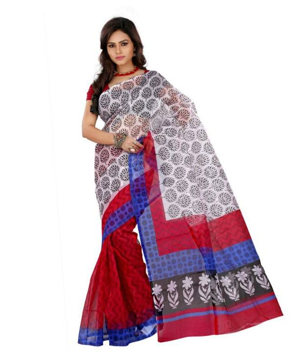 Lookslady Maroon Cotton Saree