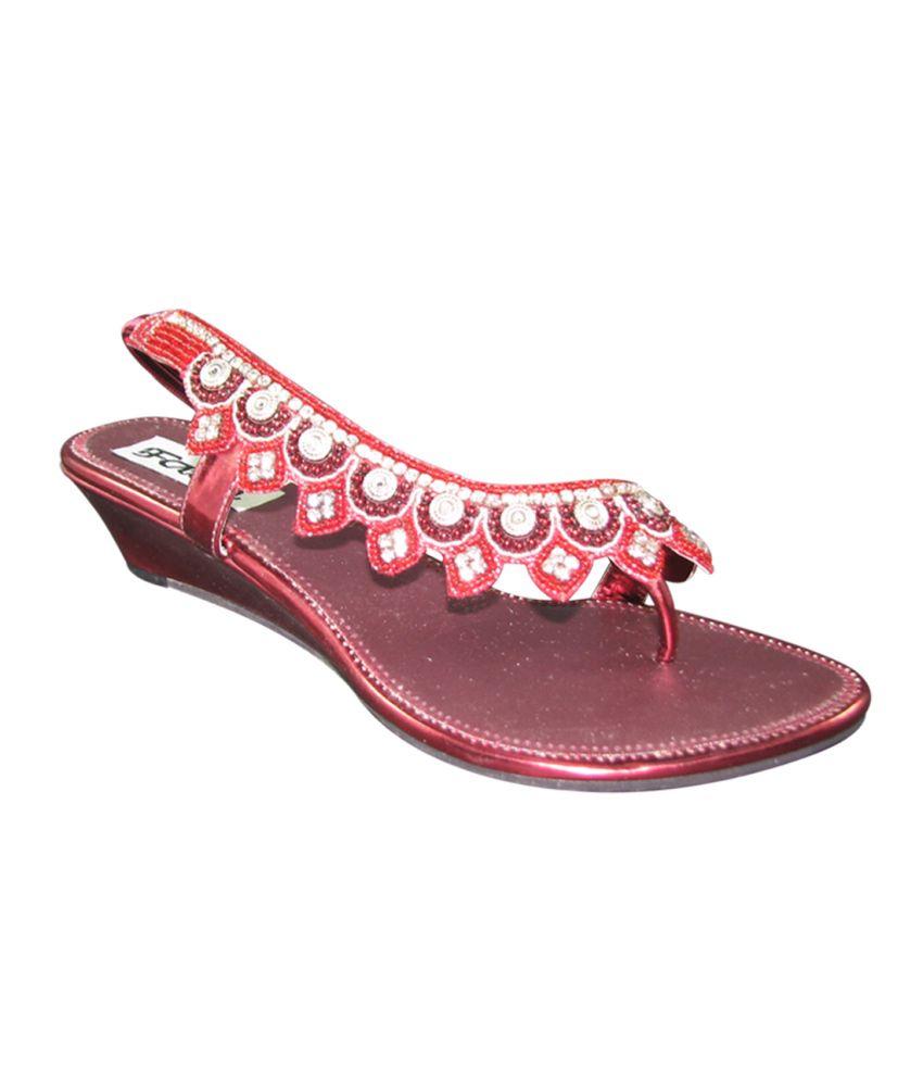 Faith Maroon Faux Leather Heeled Sandal