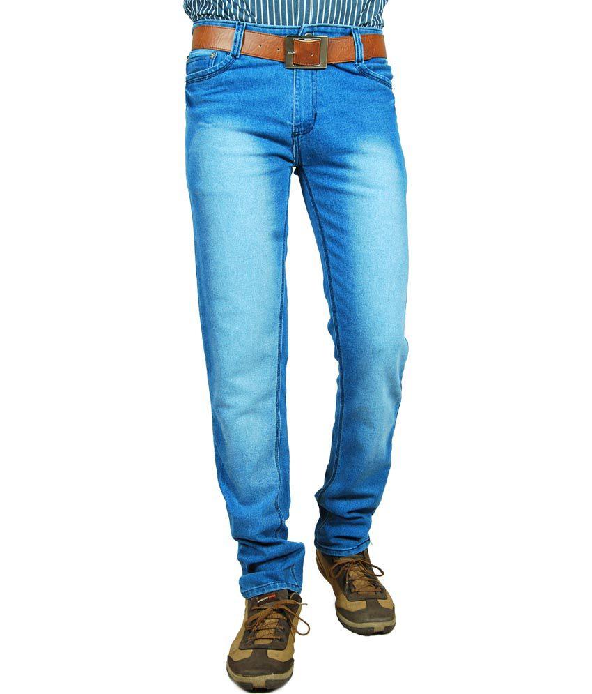 Fostil Blue Slim Fit Cotton Blend Faded Jeans