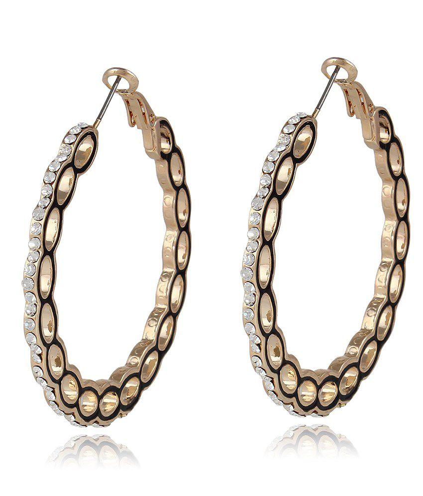 Lazreena Golden Alloy Hoop Earrings