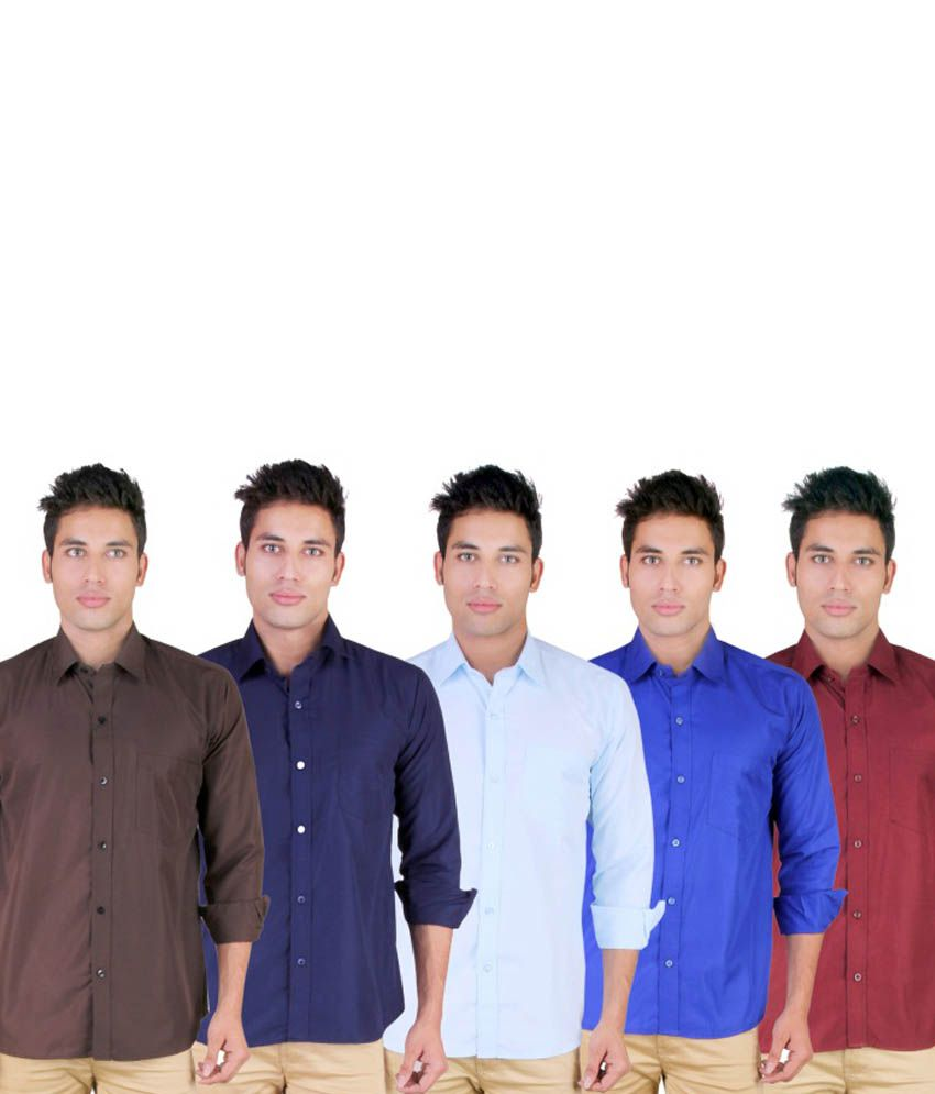 Blue Ocean Combo of 5 Casual Cotton Shirts Brown, Navy, Sky blue,