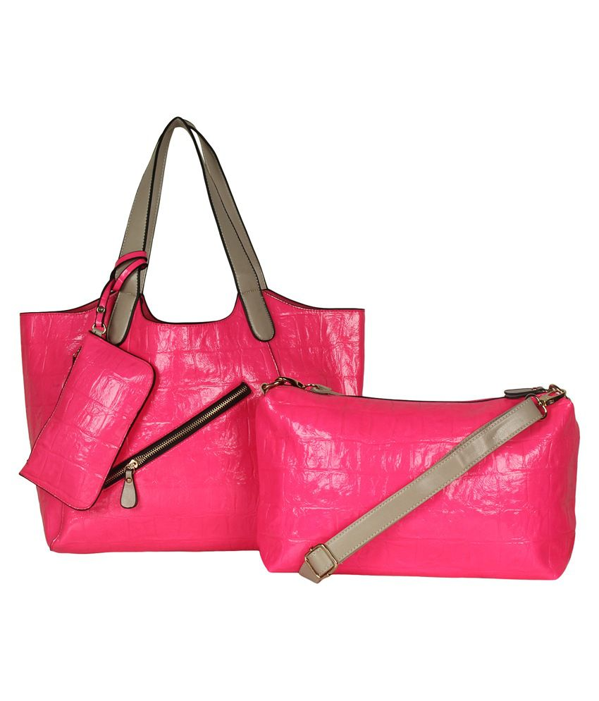 Cocktail Pink P.U. Zip Tote Bag