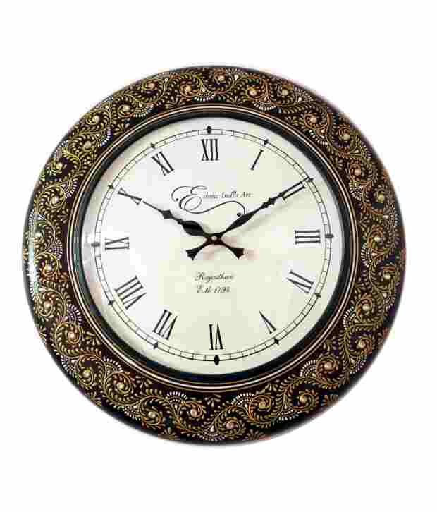 Wall Clock Art Design : Ethnic india art floral design wall clock inches buy