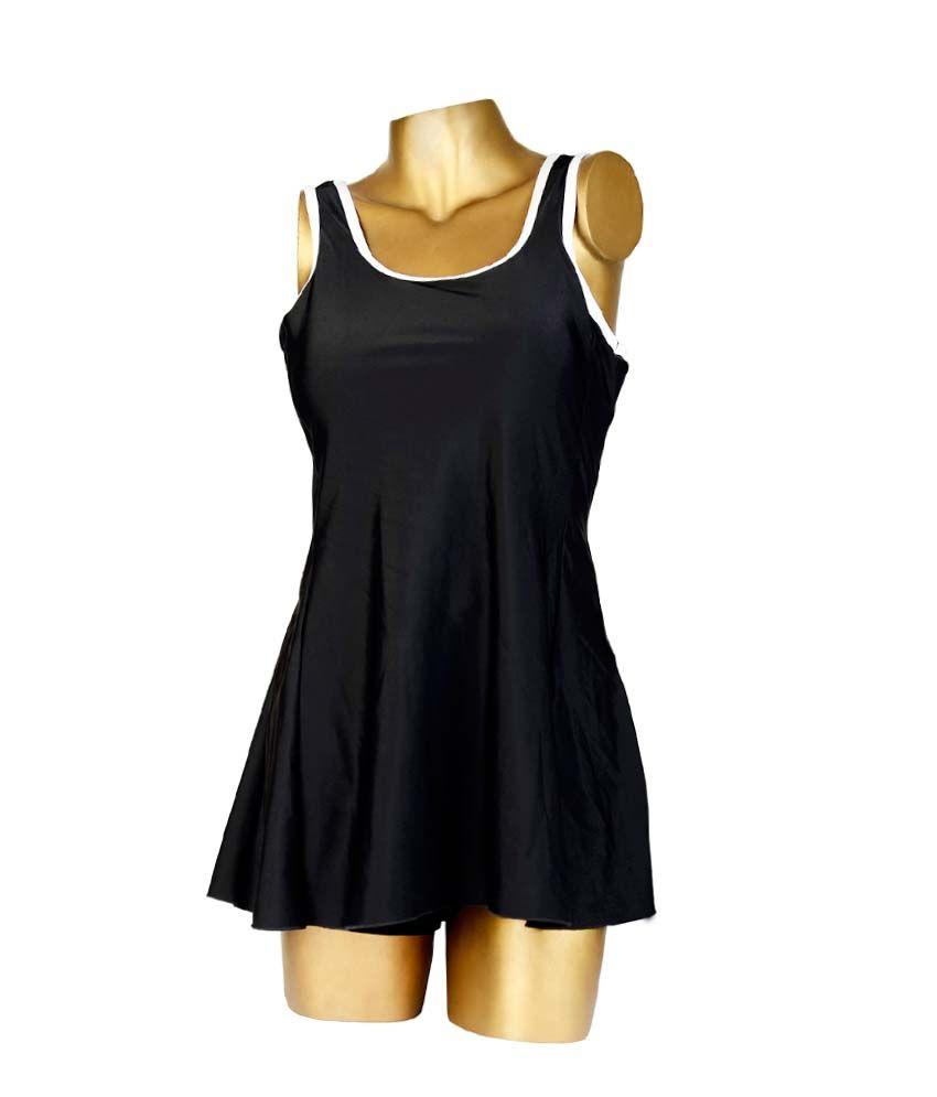 Indraprastha Black With White Sleeve Border Swimsuit/ Swimming Costume