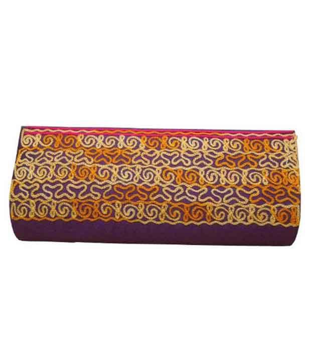 Spice Art Purple Leather Clutch