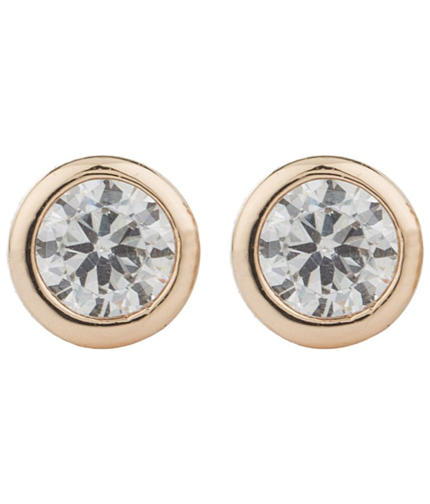Voylla Gold Toned Round CZ Stud Earrings