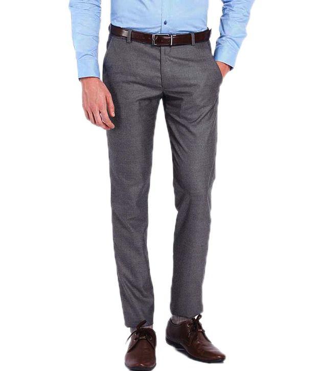 Ad & Av Premium Polyviscose black worsted Formal Trouser