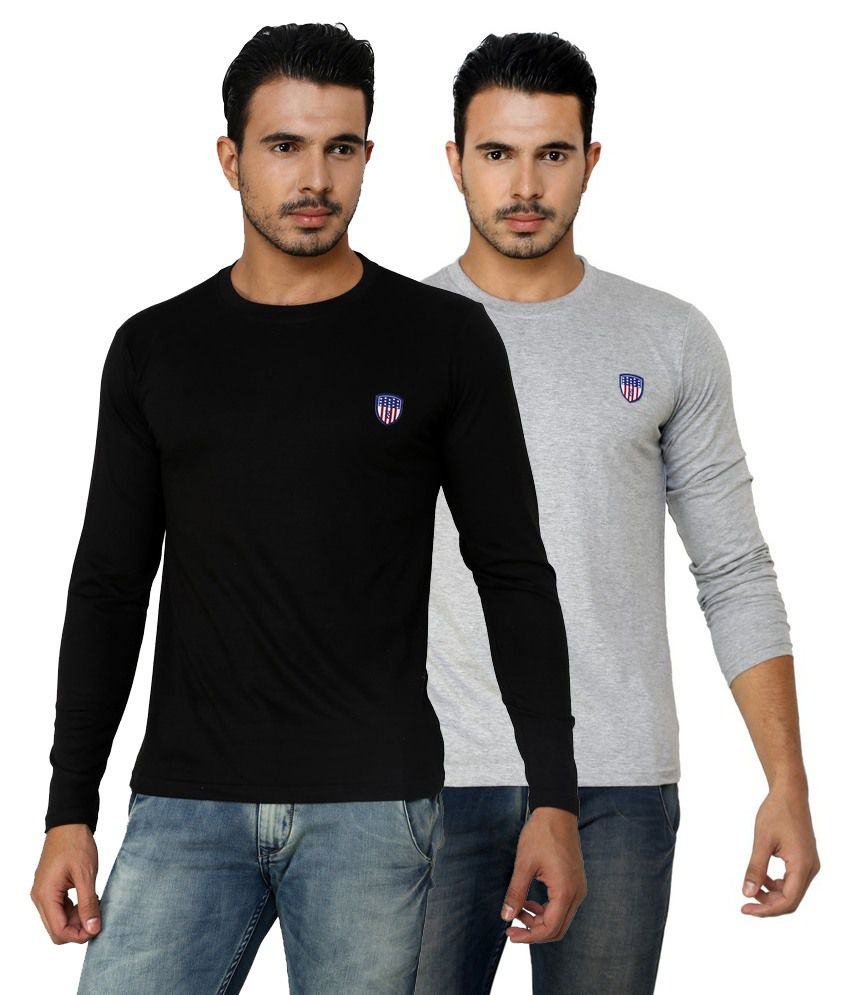 Free Spirit Solid Black and Grey Full Sleeve T-Shirt Combo