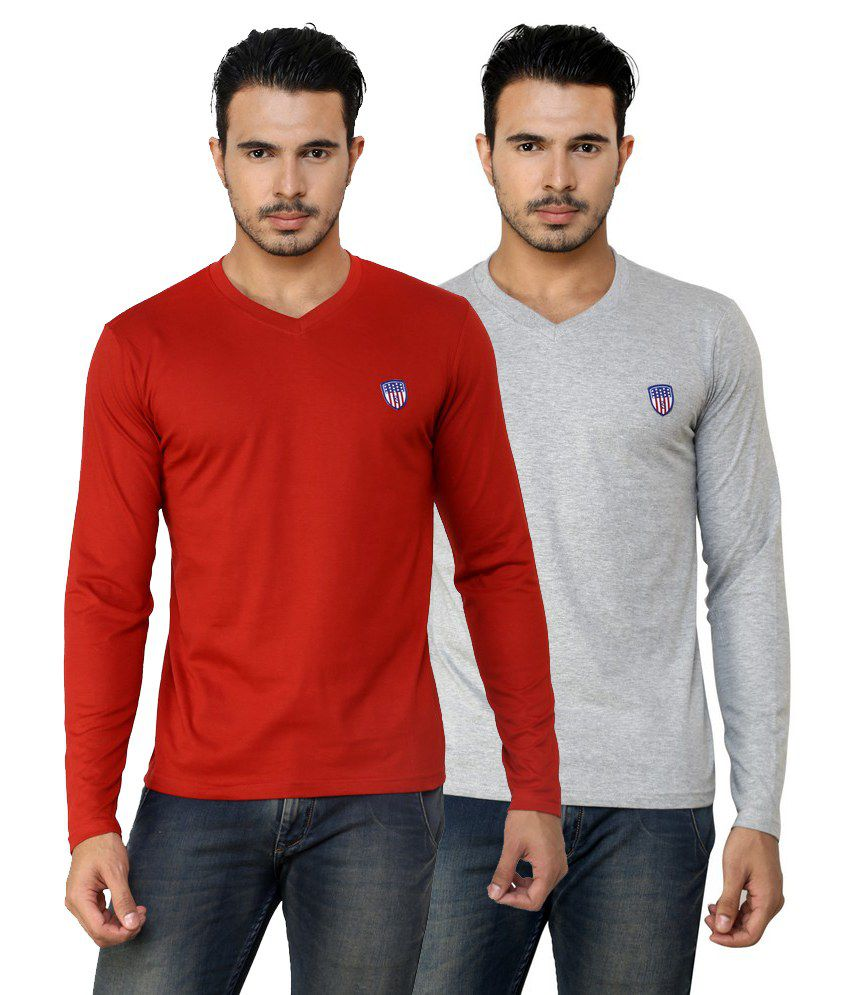 Free Spirit Solid Grey and Red Full Sleeve T-Shirt Combo