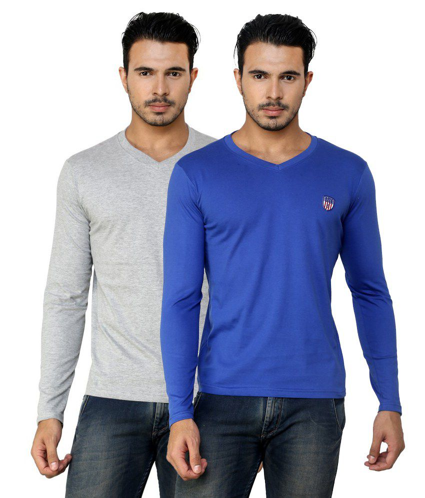 Free Spirit Solid Grey and Blue Full Sleeve T-Shirt Combo