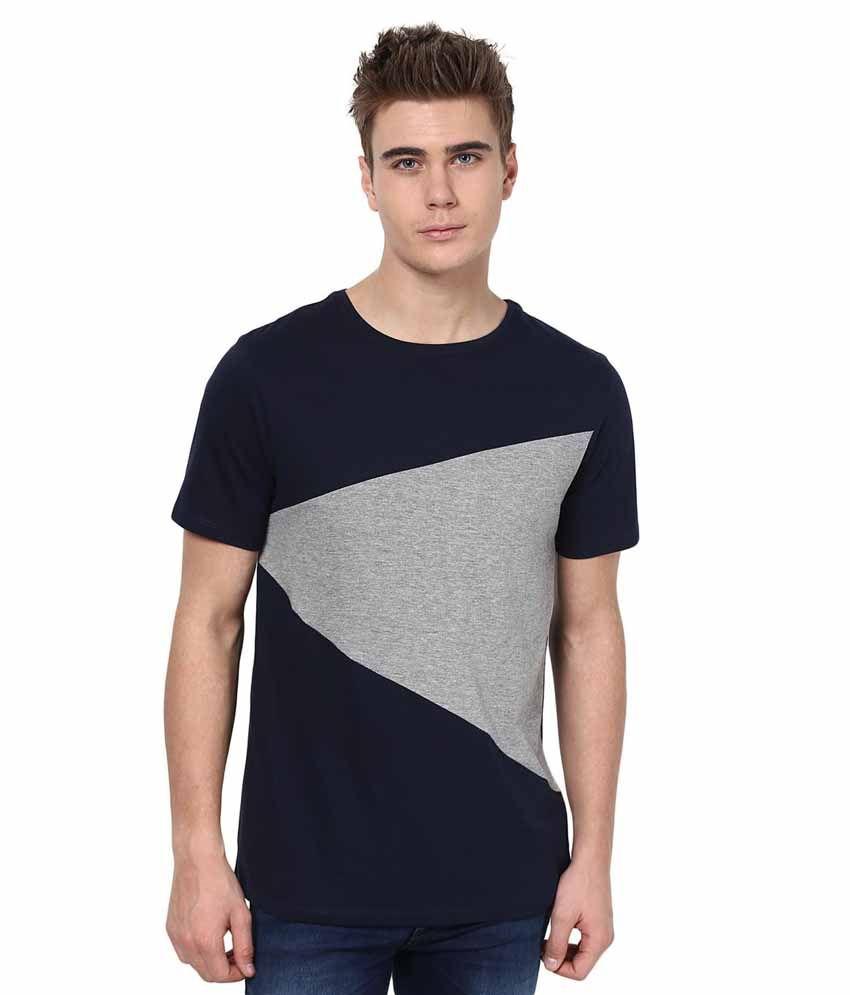 Tshirt Company Navy Blue Cotton Round Neck T-Shirt
