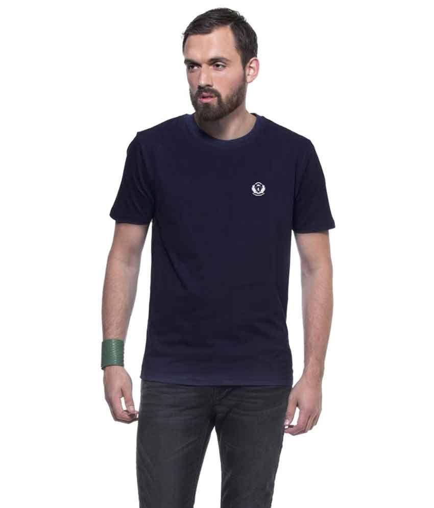 D Vogue London Blue Cotton Round Neck Basics T-Shirt