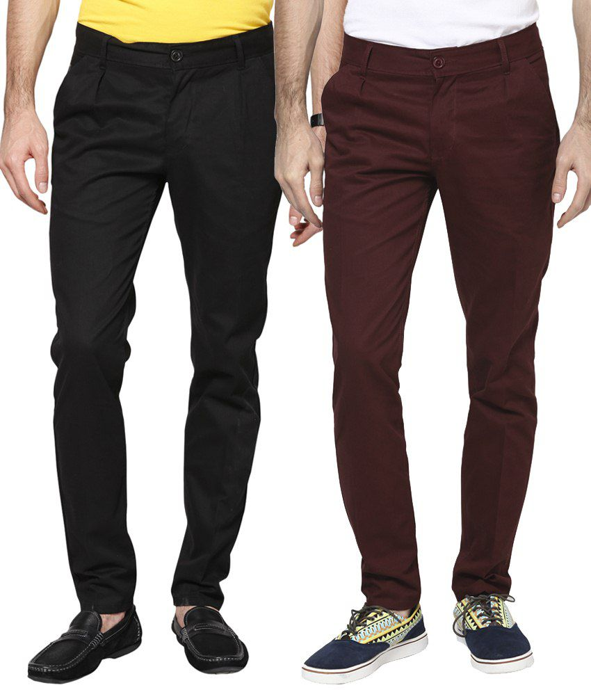 Haute Couture Combo Of Black & Maroon Chinos