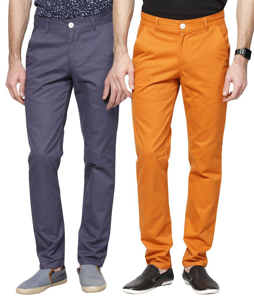 Haute Couture Combo Of Orange & Blue Chinos